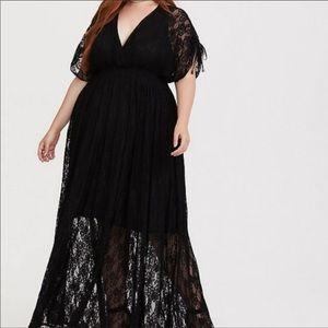 Torrid Black Lace Stretch Maxi Dress Size 1